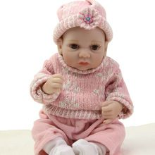NPK Collection Lovely 11 Inches Girl Reborn Baby Doll Full Soft Silicone Newborn Babies Wearing Knitted Clothes Kids Collection(China (Mainland))