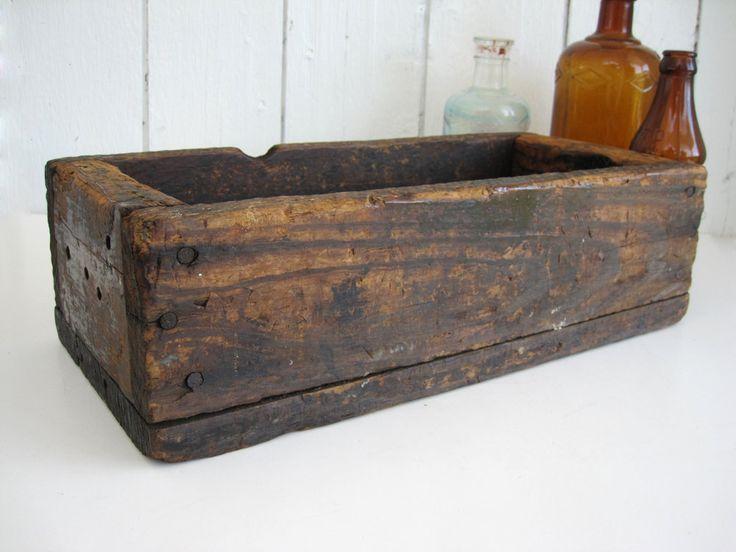 Vintage Wood Box Crate Long Narrow Rectangular Storage