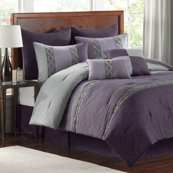 Plum comforter set bed bath beyond master bed in - Bed bath and beyond bedroom furniture ...