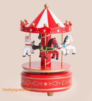 Nostaljik Atlı Karınca Müzik Kutusu Kırmızı