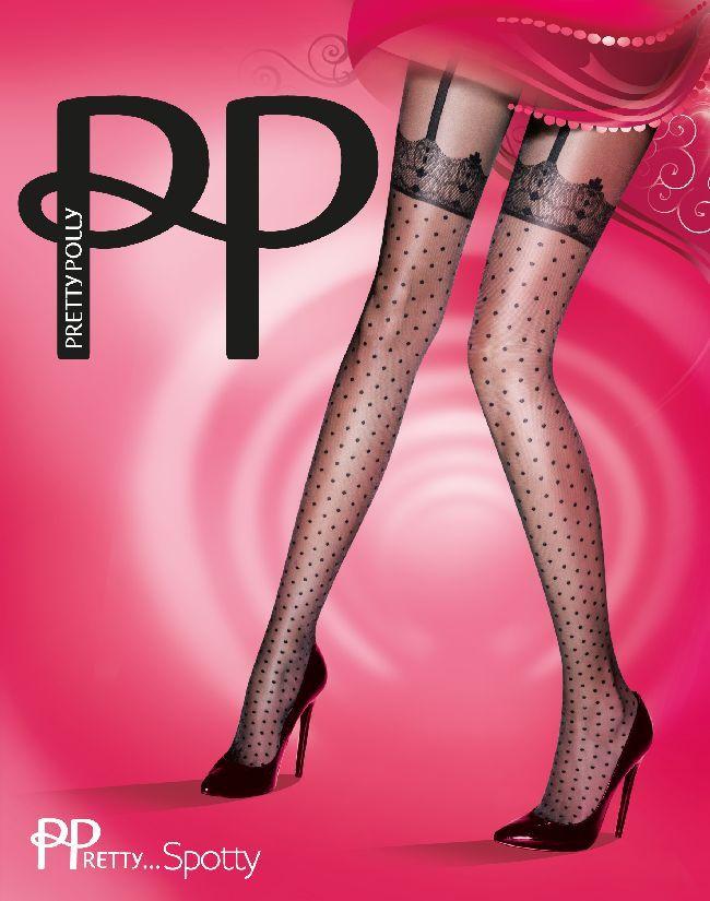 De polka dot versie van Pretty Polly's suspender panty. Met de look van kanten kousen band met jarretels. Transparante panty. Verrassend sexy. Kleur: zwart. 20 denier. Maat: One size (36 t/m 42)