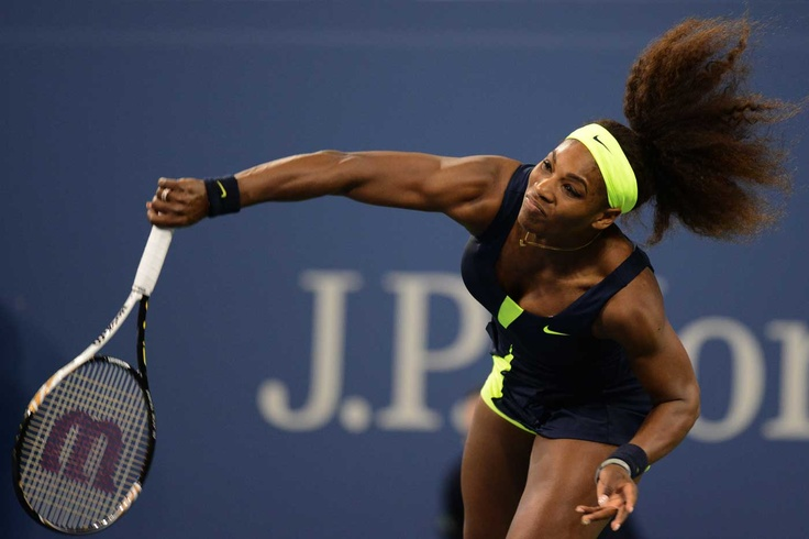 Serena Williams serving (USA)[4] in first round action against Coco Vandeweghe at Arthur Ashe Stadium. - Rob Loud/USTA #tennis #USOpen 2012