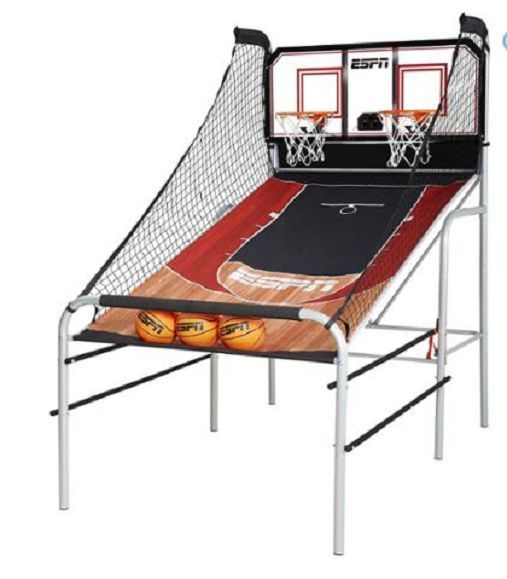 An LED scorer, timer and realistic stadium sound effects, help to complete the realistic stadium experience. The game can also be quickly folded for more compact storage when its not in use. All of the accessories required to play are included.ESPN Premium 2-Player Basketball Game with Authentic Clear Backboard. | eBay!