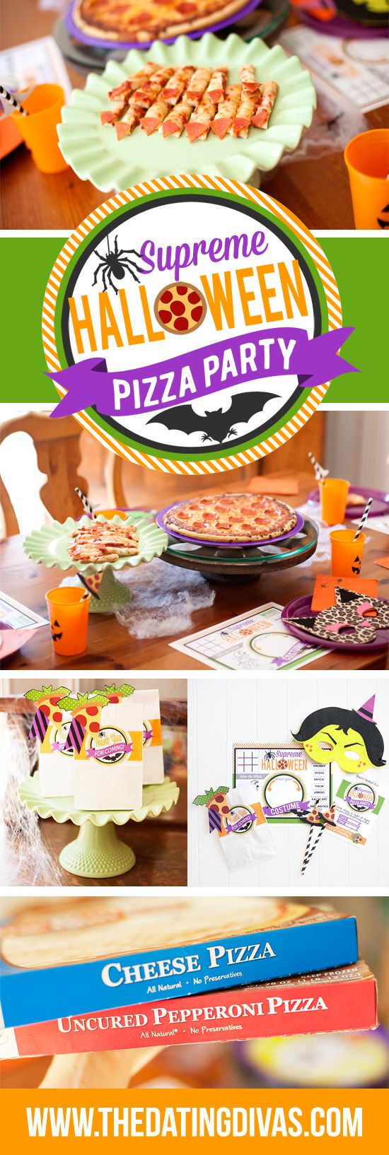 Halloween Pizza Party with frozen pizza and cute printables! www.TheDatingDivas.com