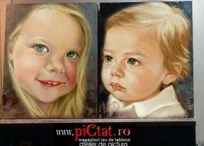 Tablouri pictate: Portret de copii la comanda portrete pictate in ulei pe panza