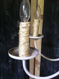 chalk-painted chandelier w rope