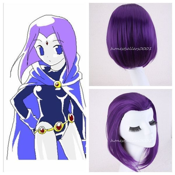 Woemn Gilr Raven From Teen Titans Anime Cospaly Purple Hair Wigs+Wig Cap