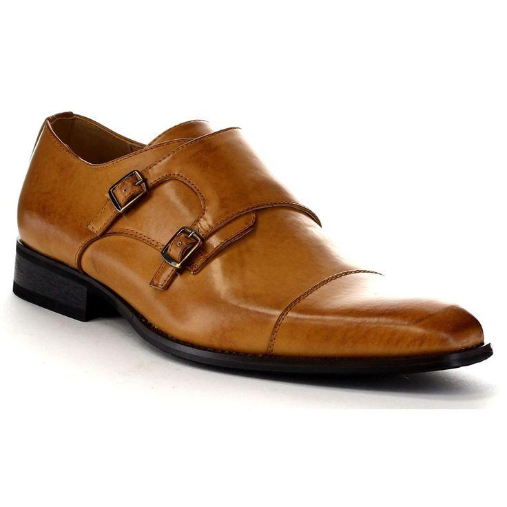 USA Beston EA28 Men's Double Monk Strap Slip-on Dress Shoes