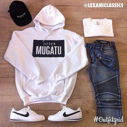 Today's top #outfitgrid is by @lexaniclassics. #Nike #Cortez, #Supreme #Hat, #JacobimMugatu #Hoody, #Balmain #Denim #flatlay #flatlayapp #flatlays @flatlayapp www.theflatlay.com