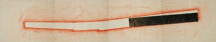 Antonio Rabazas. Columna Infinita. 2001 Dibujo de proyecto de la Escultura. Dibujo intermedio con la solución conceptual y formal. Técnica mixta carbón prensado, Sanguina, grafito sobre cartulina Fabriano. 4 Ud. de 50 x 35 total 200 x 35 cm.