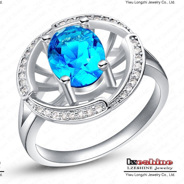 Большие женщины кольца персонализированные ювелирные изделия настоящее покрынная платина синий сапфир цирконий алмаз имитация кольца WX-RI0151