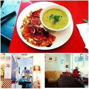 Soup and half a pizza at the Settle Down Cafe. | The Settle Down Cafe is known throughout Newcastle for its fresh food, made on the premises. The quirky cafe also has a sister bakery nearby, where, if you're quick enough off the mark, you can get warm cinnamon buns before they sell out.