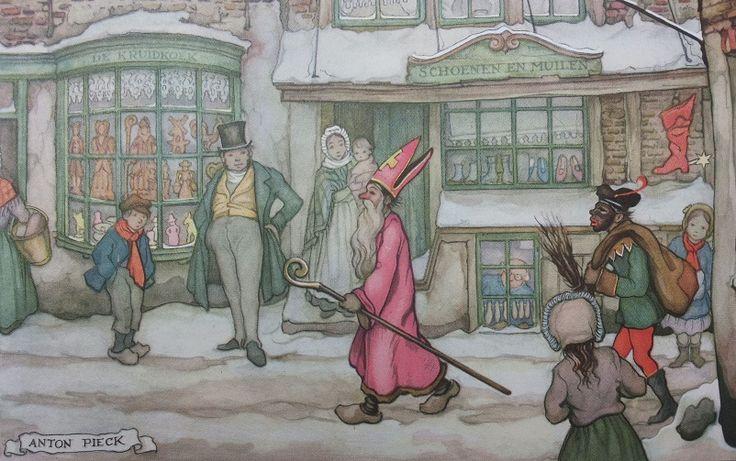 Sint Nicolaas en zijn Knecht. Sinterklaas draagt een masker en ook Zwarte (maskerade) masker en heeft een roe en de zak. In de etalage zien we vele Sinterklaas lekkernijen zoals; Speculaas figuren en vrijers/vrijsters, suikerbeesten.