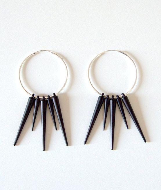 925 Silver Plated Endless 5 cm Hoop Earrings with Black Spikes by Pornoromantic