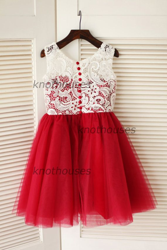 Red Tulle Ivory Lace Flower Girl Dress Children by knothouses