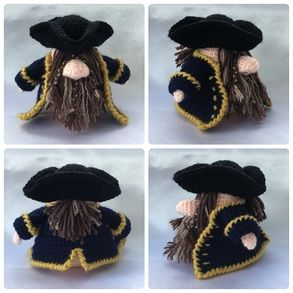 Pirate Gonk Free crochet patterns for outfits to fit Santa Gonk A Gonk's Journey