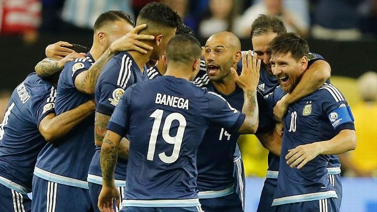 Argentina players celebrate after one of their four goals in an easy win vs. the U.S.