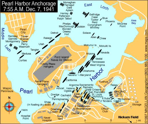This shows were all the ships were anchored in Pearl Harbor the day it was attacked.
