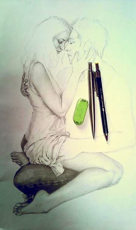 Drawing of couple embracing art