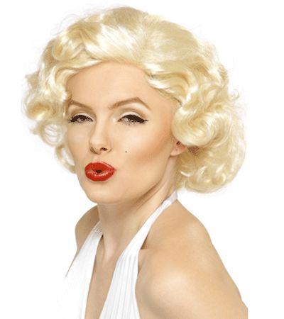 Marilyn Monroe pruik blond. Deze Mailyon Monroe pruik is blond met krullen, net zoals Marilyon Monroe haar haar droeg.