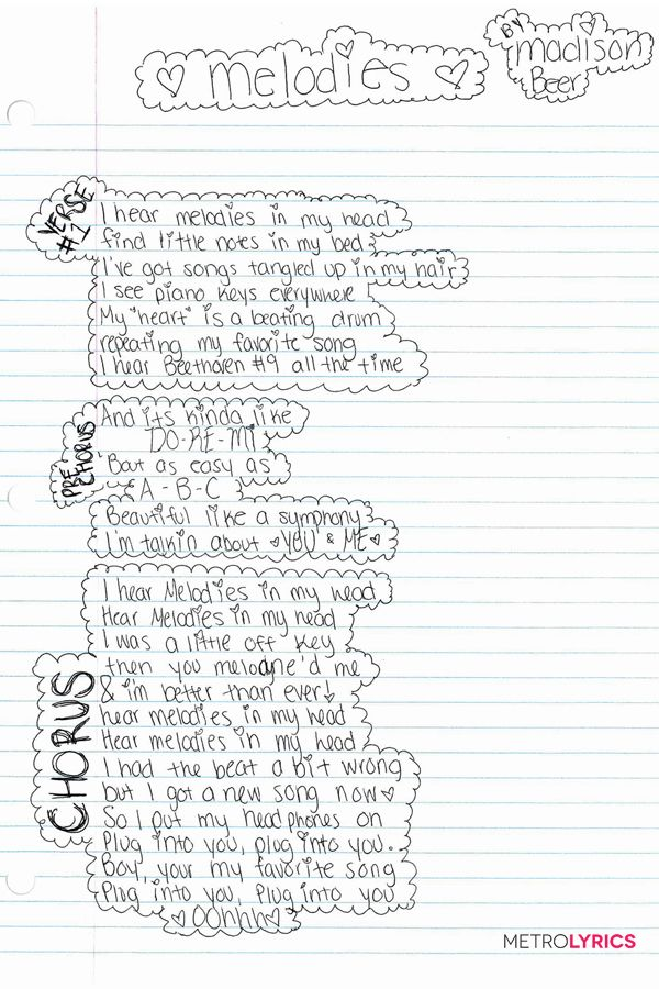 "Madison Beer's ""Melodies"" Handwritten Lyrics: click through to see the second half!"