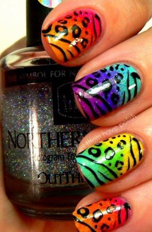 Brights, Rainbow, Gay Pride, Multi-color, animal print, cheetah spots & tiger stripes free hand nail art
