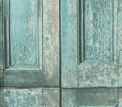 crea un ambiente actual con este papel pintado con un diseo de puertas envejecidas