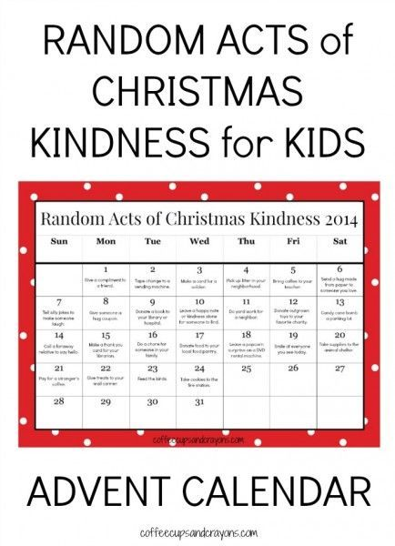 Kids Christmas Calendar Ideas : Random acts of christmas kindness for kids advent