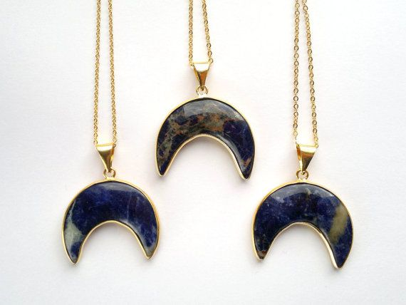 Sodalite Necklace Moon Necklace Crescent Necklace by SinusFinnicus