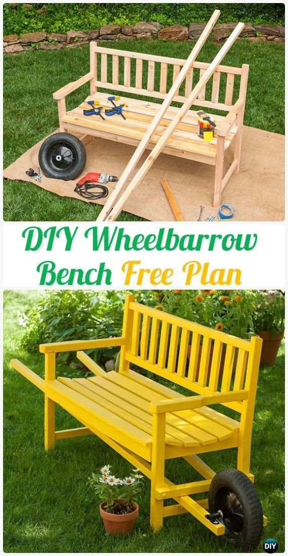 DIY Wheelbarrow Bench Instructions Free Plan