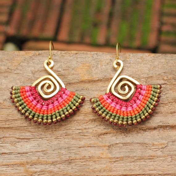 Brass spiral and woven cotton tribal earrings