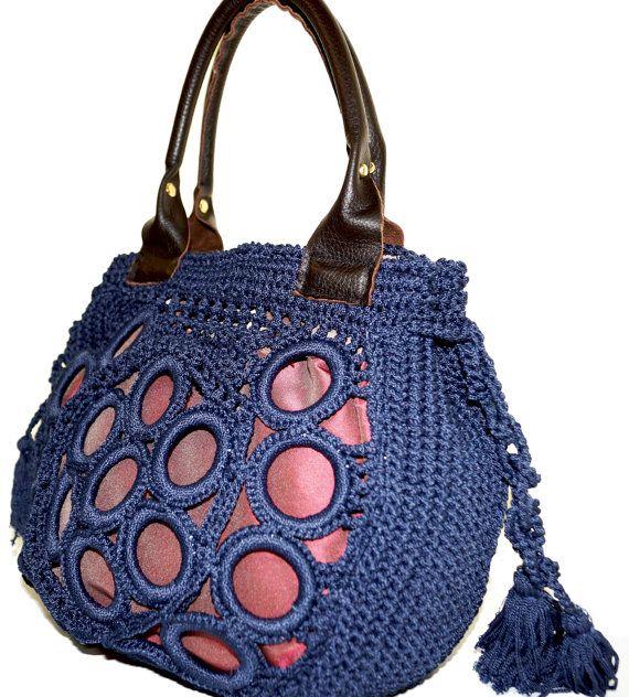 Haute Couture Crochet Hobo bag Navy indigo blue