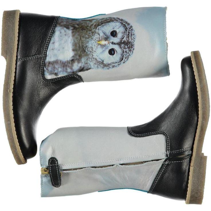 Lederen bruine met ijsblauwe laarzen met een 'Owl' fotoprint van WILD | Olliewood