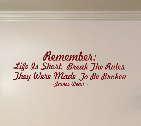 Famous James Dean Inspirational Life Quote Wall by KickinStickers.