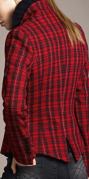 Red tartan blazer with jeans by oui.