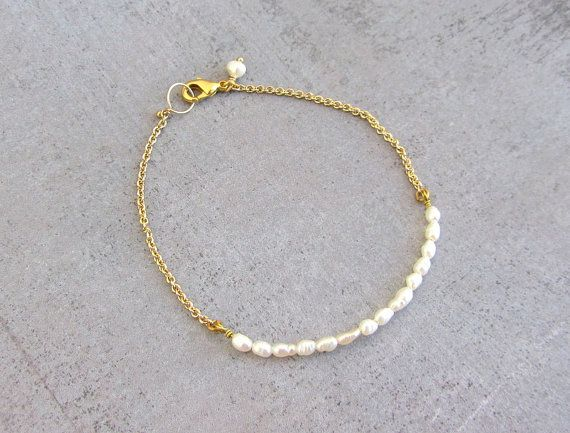 Gold pearl bracelet, simple dainty charm bracelet, wedding jewelry bridesmaid gift