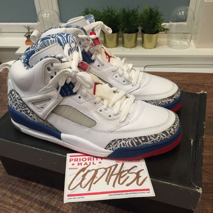 2007 Nike Air Jordan Spizike White True Blue Red Cement 315371-163  Size 10