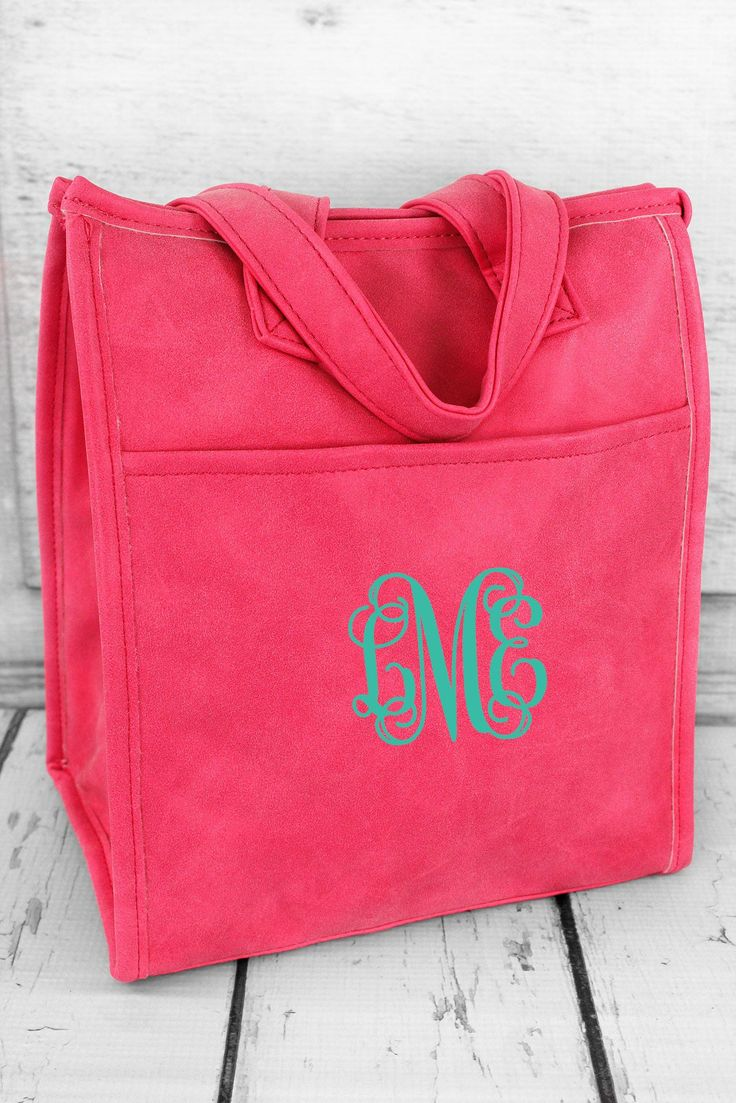 Hot Pink Faux Leather Insulated Lunch Tote #9026-HOTPINK