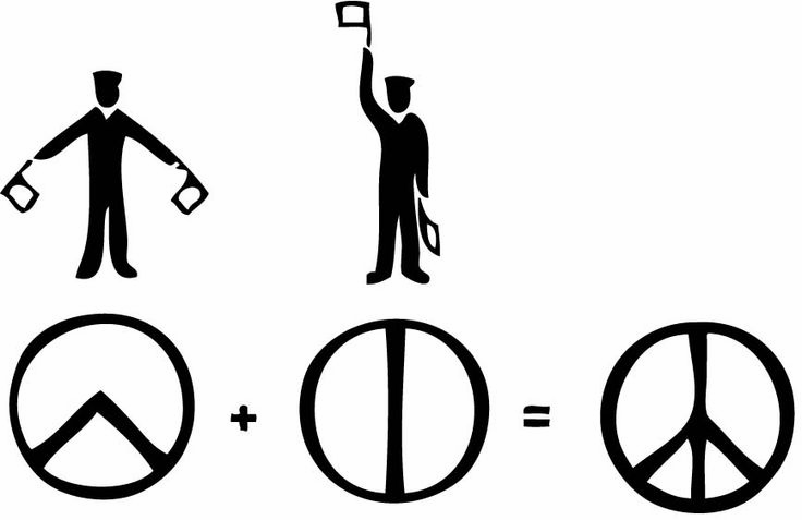 """Origins of America's peace symbol: creator Gerald Holtom combined semaphore letters """"N"""" and """"D"""". Which to him, stood for Nuclear and Disarmament. PEACE. A simple yet significant symbol of the times. HOLTOM."""
