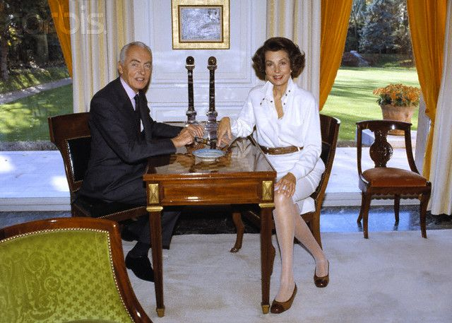 French politician and Academic Andre Bettencourt and his wife French L'Oreal heiress, socialite, businesswoman and philanthropist Liliane Bettencourt at home. Description from corbisimages.com. I searched for this on bing.com/images