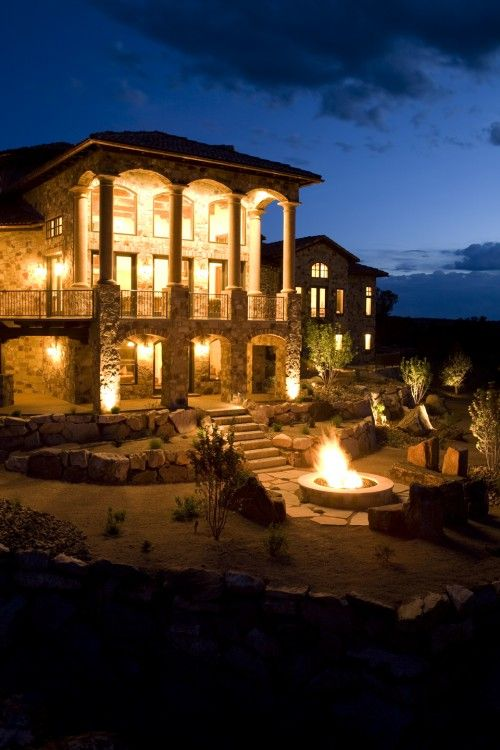 house on the Mediterranean.Lights, Fire Pits, Dreams Home, Salts Lakes Cities, Future House, Dreams House, Firepit, House Exterior, Backyards