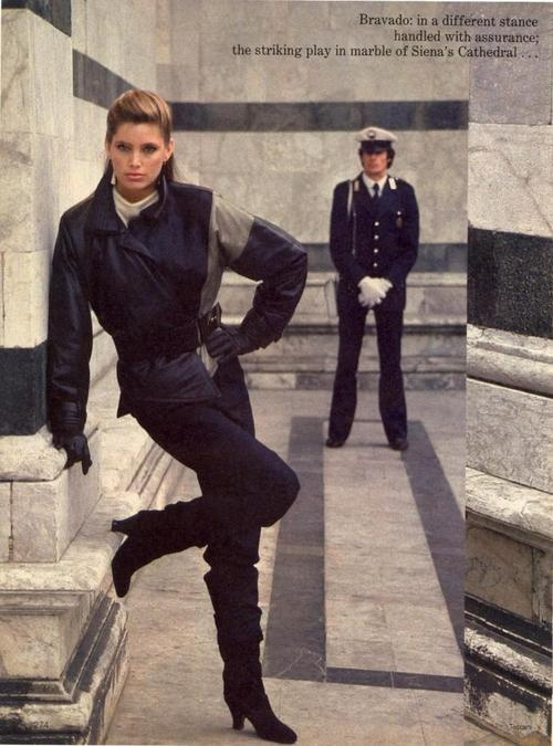 """Vogue US August 1982  """"Italy""""  Model: Kelly Emberg  Photographer: Oliviero Toscani http://supermodelobsession.tumblr.com"""