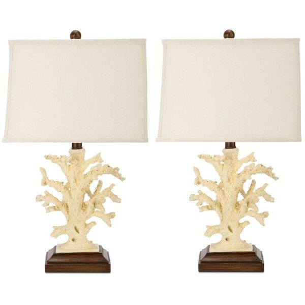 Safavieh Set of 2 Key West Coral Table Lamps ($329) ❤ liked on Polyvore featuring home, lighting, table lamps, cream, warm white lights, cream table lamps, beige lamps, soft white lights and alabaster table lamp