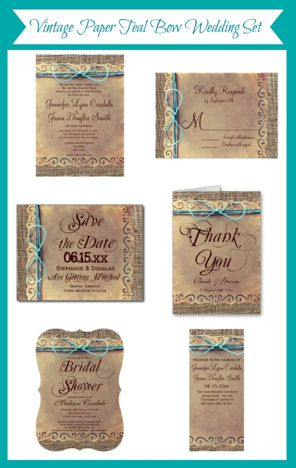 Vintage Paper Burlap Print with Teal Twine Bow Design.  Mix and Match Set. Rustic Wedding Invitations.  Country Wedding Invitations. http://www.zazzle.com/rusticcountrywedding/gifts?cg=196429911568941454&ps=120&rf=238133515809110851&tc=Pinterest