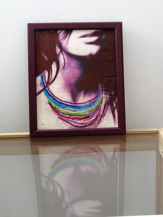 Gift For Her Colorful Necklace Fiber Art Black And White Print