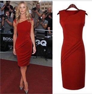 美の女王2014年新しいファッション夏v- ネックノースリーブ色赤オードリーヘップバーンエレガントなビンテージデザインオフィスレディーのドレス