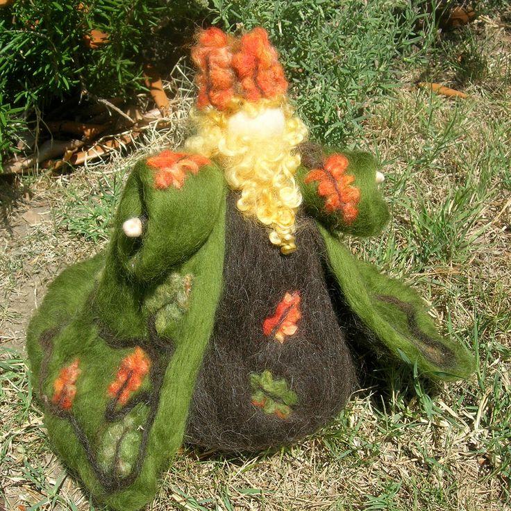 Oak King Needle felted wool fairy soft sculpture by Nushkie