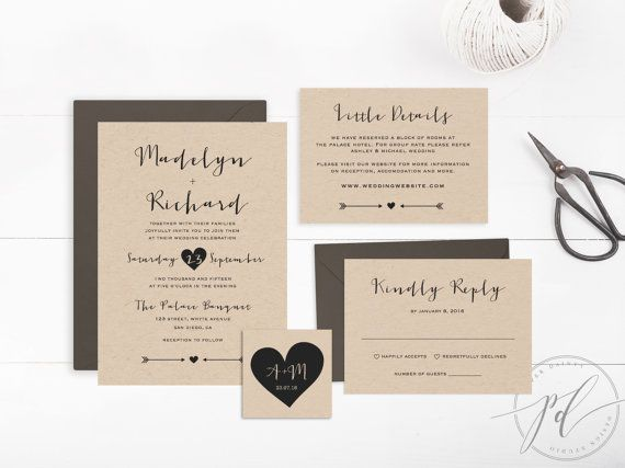 Wedding Invitation Suite Templates: Wedding Invitation Template Printable Editable Text By