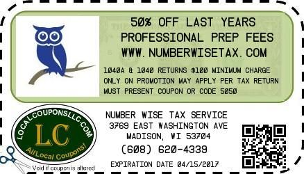 Coupon in Poynette WI for Number Wise Tax Service from Local Coupons LLC.