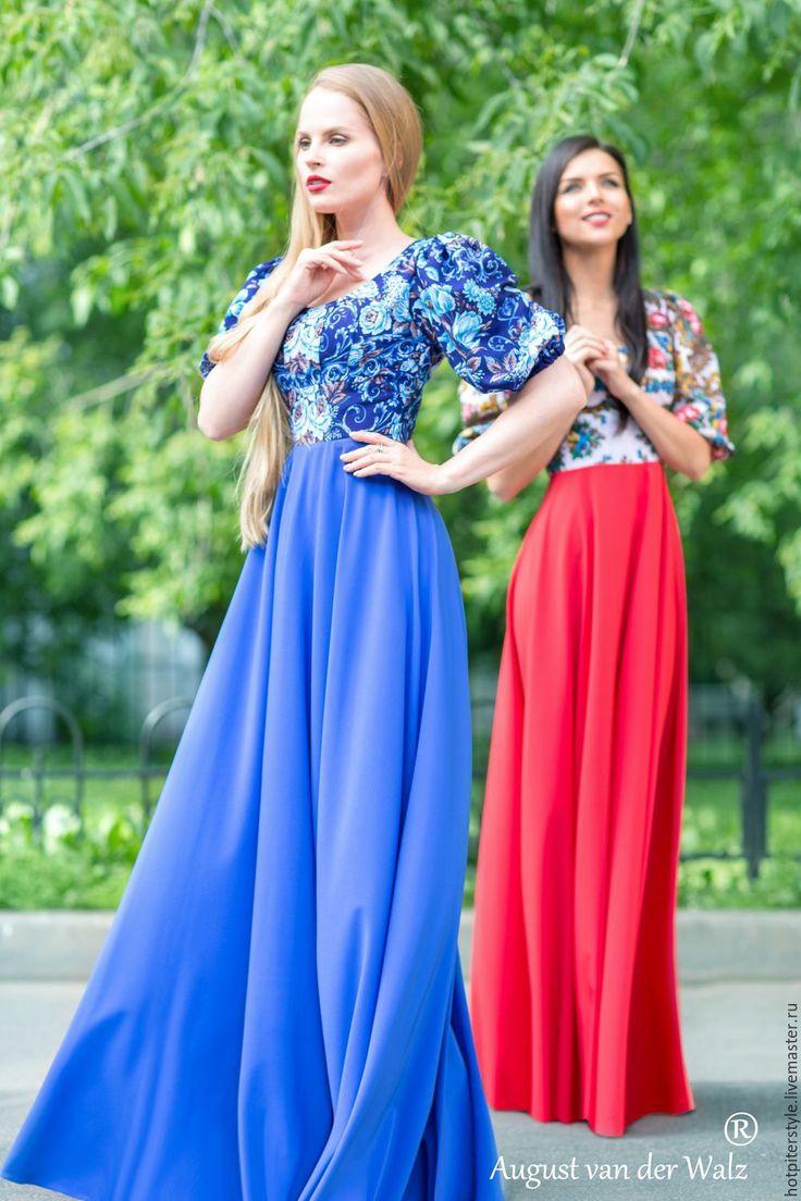"""Купить Платье в Русском стиле """"Барышня Крестьянка"""", А-ля Русс , из платков."""